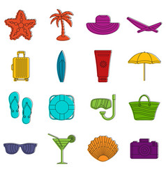 Summer rest icons doodle set vector