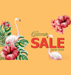summer tropic flowers and flamingo card vector image