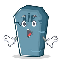 Surprised tombstone character cartoon object vector