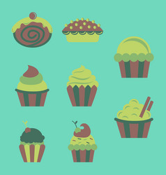 Sweets set cupcakes vector