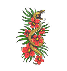tattoo snake in flowers and green grass vector image