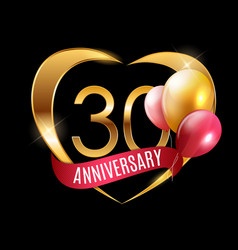 Template gold logo 30 years anniversary vector