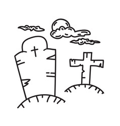 tombstone grave icon doodle hand drawn or black vector image