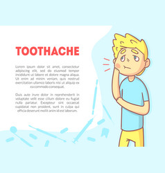 toothache banner template with space for text and vector image