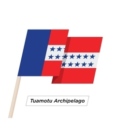 Tuamotu Archipelago Ribbon Waving Flag Isolated on vector image