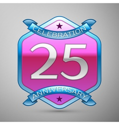 Twenty five years anniversary celebration silver vector