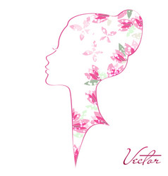 Woman silhouette with blossom and shine vector