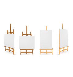 Wooden easels or painting art boards white canvas vector