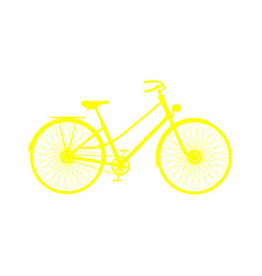 Yellow silhouette of retro bicycle vector