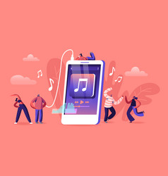 Young people listen music on mobile phone vector