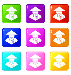 asian man in conical hat icons 9 set vector image
