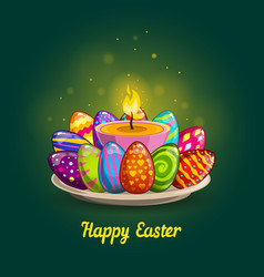 card with easter eggs and candle vector image vector image