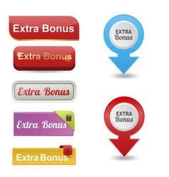 Colorful website extra bonus buttons design vector