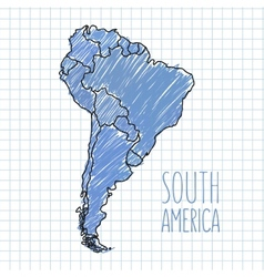 Pen hand drawn south america map on paper vector