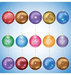 Set of glass christmas balls vector image vector image
