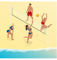 beach volley ball player jumps on the net and vector image