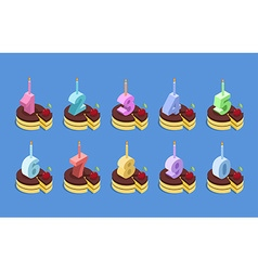 Birthday number candles and cake set Celebratory vector image