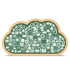 Blackboard cloud with icons vector image vector image