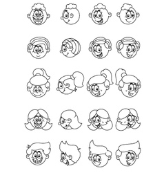 Cartoon human face expressions vector image vector image
