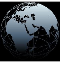 globe eastern earth world longitude map on black vector image vector image