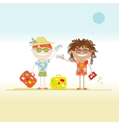 Happy tourists with tickets and suitcases for your vector image vector image