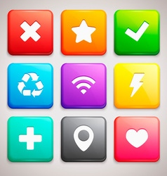 Set of Icons on colorful backgrounds vector image