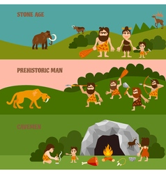 Stone Age Horizontal Banners vector image