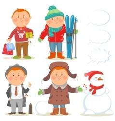 Winter holidays set of cartoon men vector image