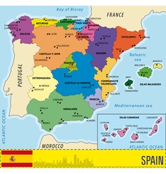 Detailed map of Spain with all regions and with ai vector image