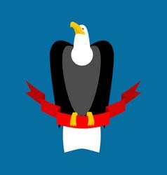 Eagle and red ribbon big black bird emblem vector