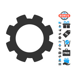 gear icon with free bonus vector image vector image