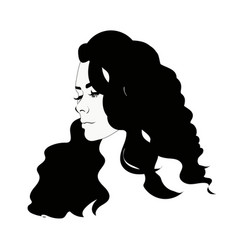 silhouette of female head black and white vector image vector image