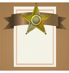 backround with sheriff badge in engraving style vector image vector image
