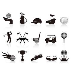 Black golf icons set vector