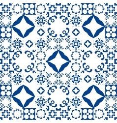 Blue and white ceramic tiles Patchwork style vector image vector image