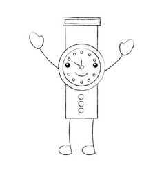 cartoon hand watch time business timer plan vector image vector image