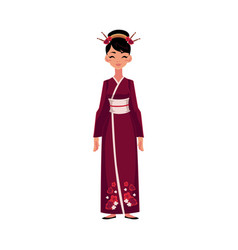 chinese woman in traditional national costume vector image vector image