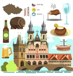 Czech Republic Prague symbol set vector image