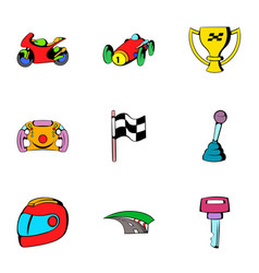 finish icons set cartoon style vector image vector image