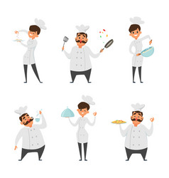 male and female professional chef vector image vector image