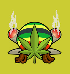 rasta logo cannabis leaf and joint or spliff vector image vector image