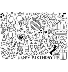 0038 hand drawn party doodle happy birthday vector