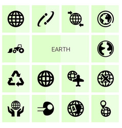 14 earth icons vector image