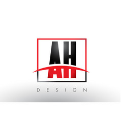 ah a h logo letters with red and black colors and vector image