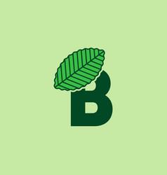 B letter leaf logo design template vector
