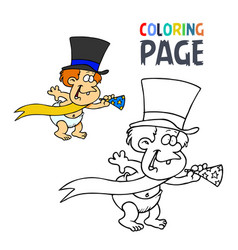 baby and trumpet cartoon coloring page vector image