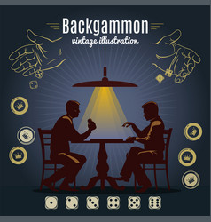 Backgammon vintage style design vector