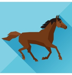 Background with horse running in flat style vector image