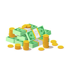 big pile of cash money banknotes and gold coins vector image