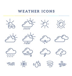Blue weather theme icon set on white back vector